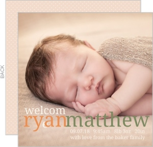 Orange and Green Name Photo Boy Birth Announcement