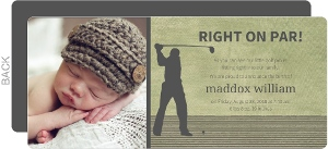 Rustic Green Right on Par Funny Birth Announcement