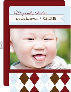 Chocolate Burgundy Plaid  Boy Baby Announcement