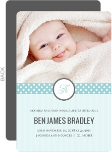 Blue Stripes and Dots Baby Announcement