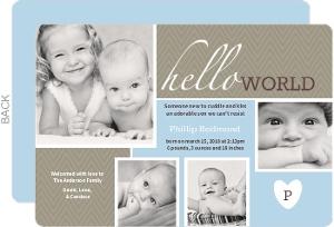 Hello World Blue Photo Boy Baby Announcement