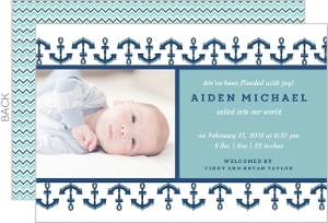 Blue Anchors Photo Boy Baby Announcement