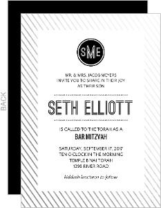 Modern Monogram Foil Bar Mitzvah Invitation
