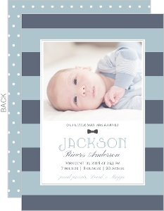 Blue Stripes Photo Boy Baby Announcement