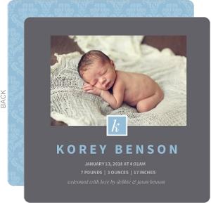 Dark Gray Monogram Photo Boy Baby Announcement