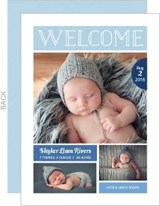 Light Blue Welcome Photo Boy Birth Announcement