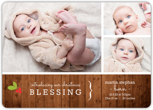 Rustic Holiday  Photo Birth Announcement