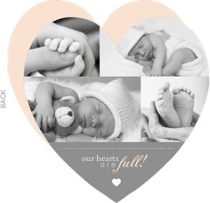 Gray Photo Heart Girl Baby Announcement