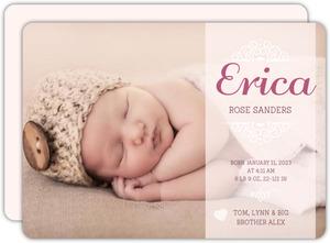 Pink Banner Swirl Birth Announcement