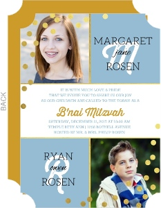 Twin Faux Gold Confetti Mitzvah Invitation