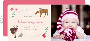 Woodland Critters Baby Girl Birth Announcement