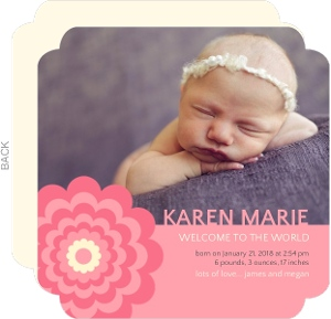 Coral Flower Photo Girl Birth Announcement