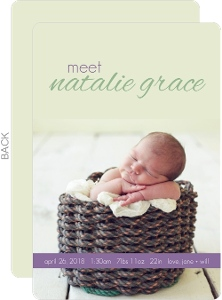 Simple Purple Girl Baby Announcement
