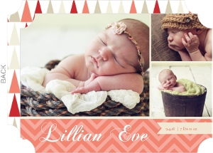 Coral and Cream Chevron Photo Birth Announcement
