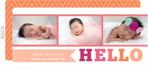 Pink Orange Photo Strip Birth Announcement