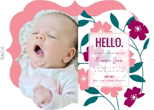 Bright Blossoms  Photo Girl Baby Announcement