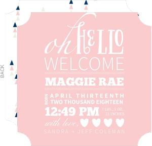 Typographic Pink Girl Baby Announcement