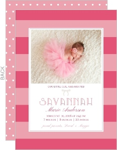 Bows and Stripes Girl Baby Announcement