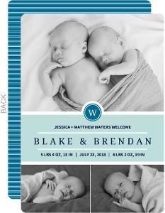 Simple Blue Photo Boy Twins Announcements
