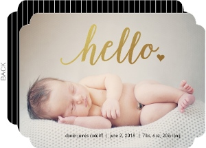 Faux Foil Hello Photo Birth Announcement