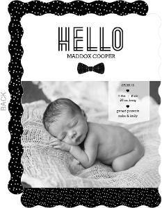 Hello Gentleman Bow Tie Photo Birth Announcement
