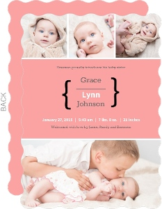 Pink Photo Collage Sibling Baby Announcement