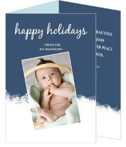 Blue Snow Holiday Photo Card