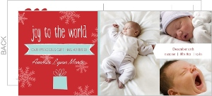 Joyful Photo Christmas Birth Announcement