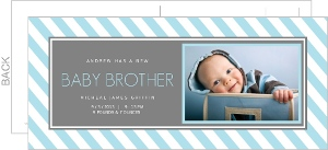 Blue And White Chevron Sibling Birth Announcement