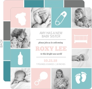 Baby Blocks  Birth Announcement