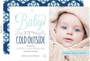 Whimsical Winter Typographic Birth Announcement