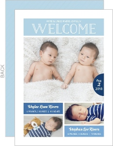 Beautiful Blue Twins Birth Announcement