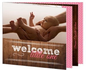 Rustic Wood Grain Birth Announcement