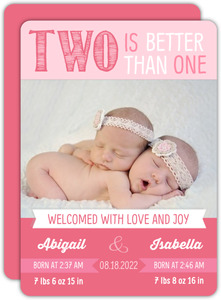 Two Little Blossoms Twin Announcement Card