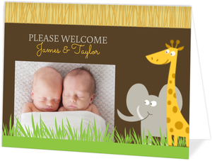 Safari Animals Twins Baby Announcement
