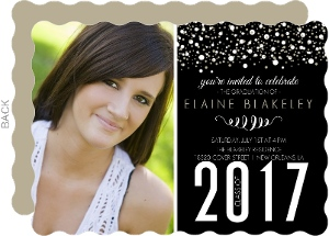 Sophisticated Black Bubbles Graduation Invitation