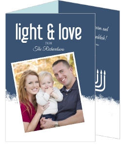 Blue Snowflakes Trifold Hanukkah Photo Card