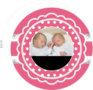 Lacey Pink Circle Photo Twins Announcement