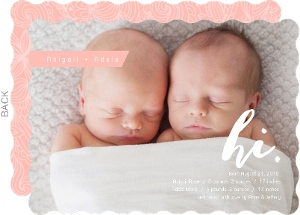 Lacey Pink Photo Twins Announcement