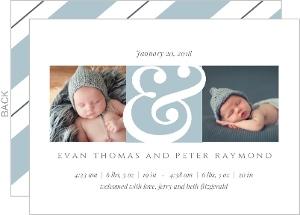 Twin Arrival Blue Photo Birth Announcement