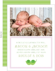 Two Little Peas  Twin Announcement Card