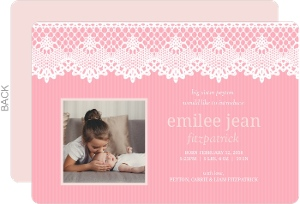 Pale Pink Doily Sibling Baby Announcement
