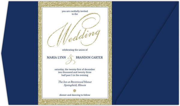 Navy And Gold Glitter Formal Pocketfold Wedding Invitation