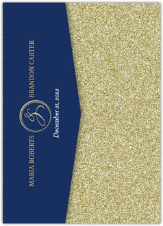 Navy and Gold Glitter Formal Pocketfold Wedding Invitation