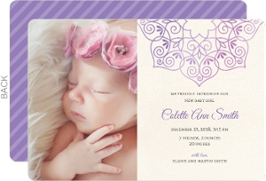 Purple Stripes Photo Birth Announcement