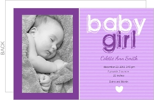 Sketchy Purple Stripes Photo Birth Announcement