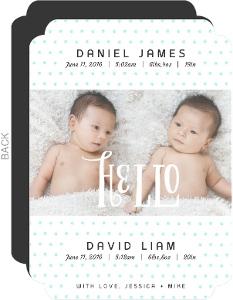Blue Dots Twin Announcement Card