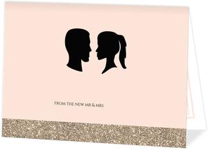 Glamorous Silhouette Wedding Thank You Card