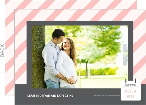 Pink and Gray Stripes Pregnancy Announcement