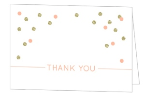 Gold Glitter and Pink Confetti Thank You Card